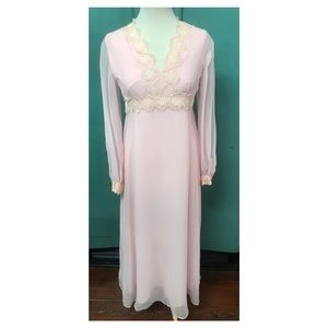 Medium Pale Pink 70's Maxi Dress sheer Disco Dress